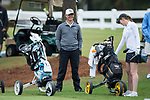 Wake Forest Demon Deacons assistant coach Ryan Potter waits for Emilia Migliaccio (right) to tee off at the first hole during second round action at the Ruth's Chris Tar Heel Invitational on October 14, 2017 in Chapel Hill, North Carolina. (Brian Westerholt/Sports On Film)