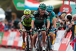 Rafal Majka (POL) Bora-Hansgrohe and Ion Izaguirre Insausti (ESP) Astana Pro Team cross the finish line at the end of Stage 9 of La Vuelta 2019 running 99.4km from Andorra la Vella to Cortals d'Encamp, Spain. 1st September 2019.<br /> Picture: Colin Flockton | Cyclefile<br /> <br /> All photos usage must carry mandatory copyright credit (© Cyclefile | Colin Flockton)