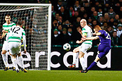 GLASGOW,SCOTLAND - DECEMBER 05 :Adrien Trebel midfielder of RSC Anderlecht takes a shot on goal during the Champions League Group B match between Celtic FC and Rsc Anderlecht