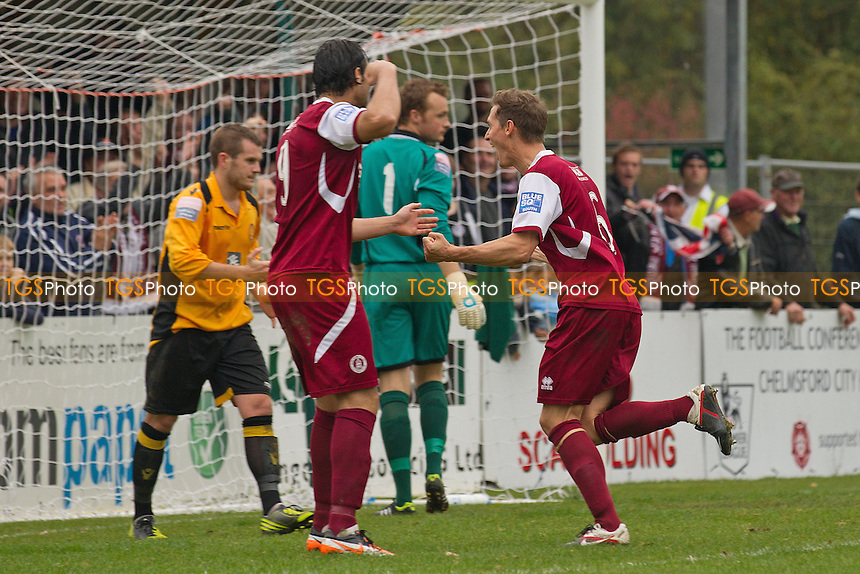 David Bridges of Chelmsford City celebrates his equalising goal  - Chelmsford City vs East Thurrock United - FA Cup 4th Qualifying Round Football at Melbourne Park, Chelmsford, Essex - 20/10/12 - MANDATORY CREDIT: Ray Lawrence/TGSPHOTO - Self billing applies where appropriate - 0845 094 6026 - contact@tgsphoto.co.uk - NO UNPAID USE.