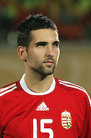 Hungary's Bence Zambo (15)  stands on the field before the match against Italy during the FIFA Under 20 World Cup Quarter-final match at the Mubarak Stadium  in Suez, Egypt, on October 09, 2009. Hungary won 2-3 in overtime.