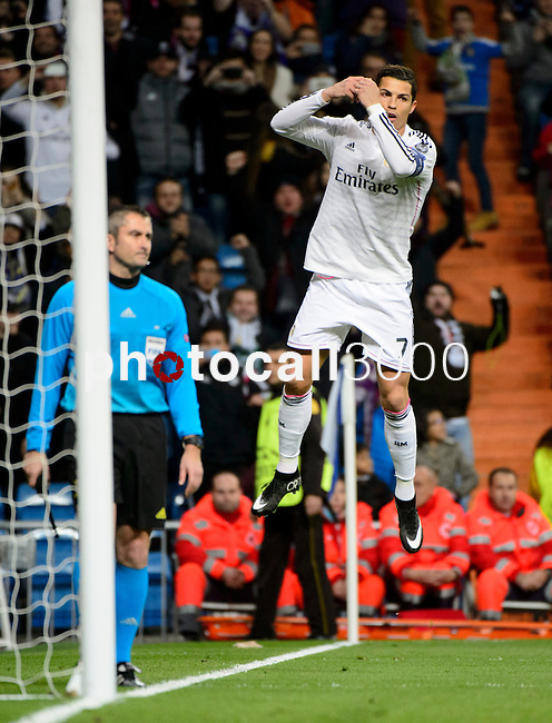 Real Madrid's Portuguese forward Cristiano Ronaldo during the Champions league football match Real Madrid vs Ludogorets at the Santiago Bernabeu stadium in Madrid on december 9, 2014. DP / Photocall3000.
