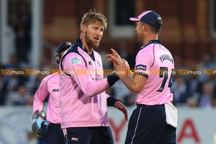 Ollie Rayner of Middlesex is congratulated by his team mates after taking the wicket of Jesse Ryder during Middlesex vs Essex Eagles, NatWest T20 Blast Cricket at Lord's Cricket Ground on 28th July 2016