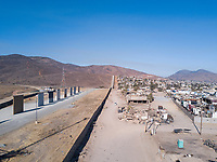 U.S. Mexico border wall and Trump's sample walls.  Tijuana, Mexico