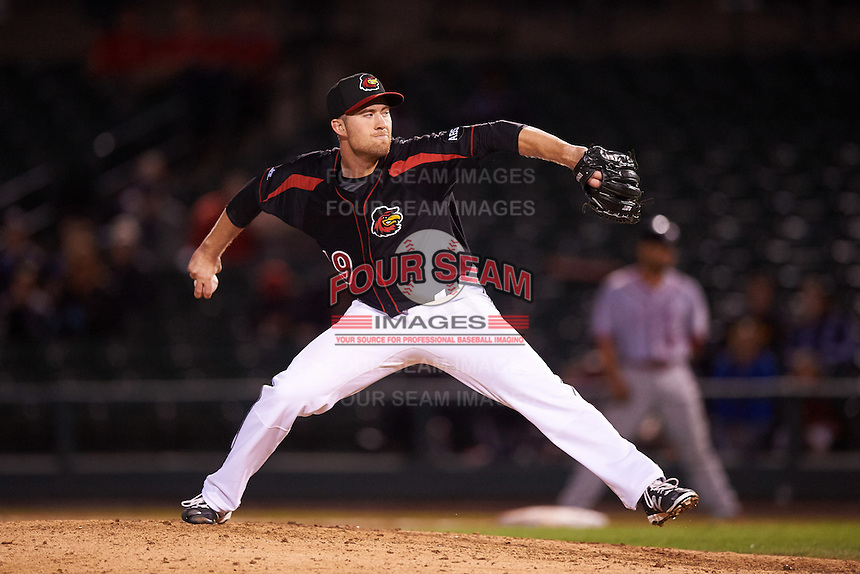 Rochester Red Wings relief pitcher Alex Wimmers (19) delivers a pitch during a game against the Syracuse Chiefs on July 1, 2016 at Frontier Field in Rochester, New York.  Rochester defeated Syracuse 5-3.  (Mike Janes/Four Seam Images)