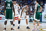 Real Madrid Jeffery Taylor and Gustavo Ayon and Panathinaikos Mike James during Turkish Airlines Euroleague Quarter Finals 4th match between Real Madrid and Panathinaikos at Wizink Center in Madrid, Spain. April 27, 2018. (ALTERPHOTOS/Borja B.Hojas)