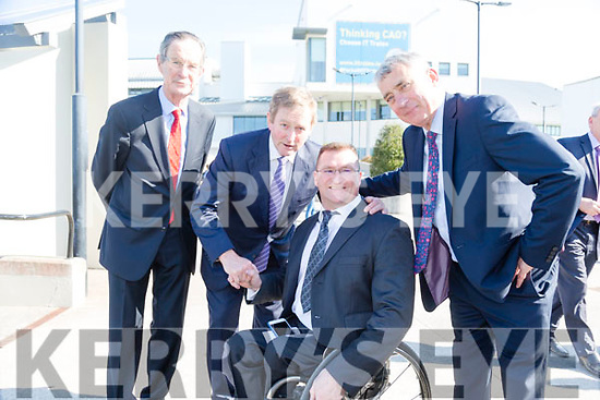 Taoiseach Enda Kenny TD attend the launch of the €16.5m sports academy at ITT North Campus on Monday.  An Taoiseach Enda Kenny with Roy Guerin and Dick Spring, Ogie Moran