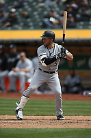 OAKLAND, CA - APRIL 18:  Yolmer Sanchez #5 of the Chicago White Sox bats against the Oakland Athletics during the game at the Oakland Coliseum on Wednesday, April 18, 2018 in Oakland, California. (Photo by Brad Mangin)