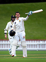 Wellington's Malcolm Nofal celebrates his century on day two of the Plunket Shield cricket match between Wellington Firebirds and Otago Volts at the Basin Reserve in Wellington, New Zealand on Thursday, 18 October 2018. Photo: Dave Lintott / lintottphoto.co.nz