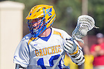 Santa Barbara, CA 04/16/16 - Blake Samuel (UCSB #19) in action during the final regular MCLA SLC season game between Chapman and UC Santa Barbara.  Chapman defeated UCSB 15-8.