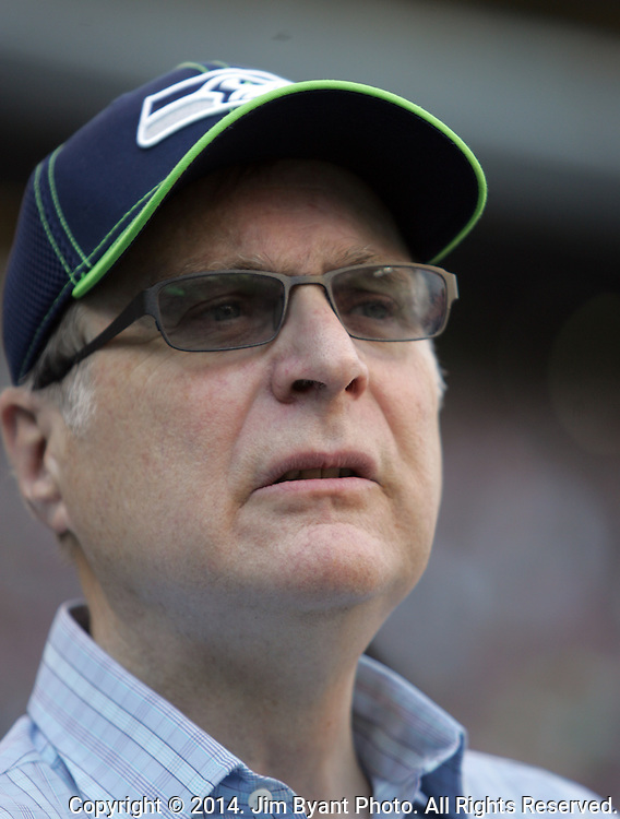 Seattle Seahawks owner, Paul Allen, Chairman of Vulcan Sports and entertainment, watches from the sidelines during the game against the  Denver Broncos at CenturyLink Field in Seattle, Washington on September 21, 2014. The Seahawks won 26-20 in overtime.    ©2014. Jim Bryant Photo. All rights Reserved.
