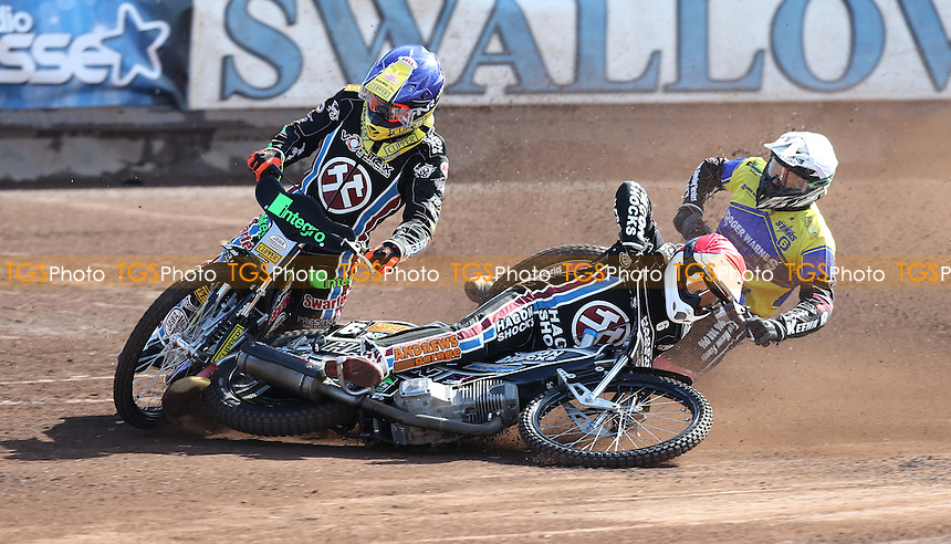 Heat 2: Robert Mear (red) takes a fall with Lewis Kerr (blue) and Carl Wilkinson (white) close behind during Lakeside Hammers vs King's Lynn Stars, Elite League Speedway at the Arena Essex Raceway on 25th March 2016