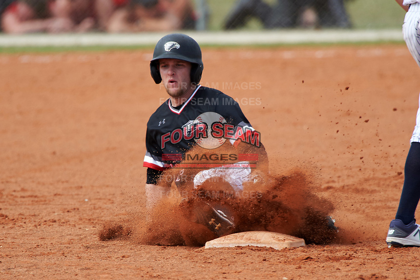 Edgewood College Eagles Tim Nunn (12) slides into second base during the second game of a doubleheader against Western Connecticut Colonials on March 13, 2017 at the Lee County Player Development Complex in Fort Myers, Florida.  Edgewood defeated Western Connecticut 2-1.  (Mike Janes/Four Seam Images)