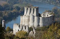 LES ANDELEYS, FRANCE - OCTOBER 10: Aerial view of the embossed ramparts with the keep of the Chateau Gaillard, Seine in the background, on October 10, 2008 in Les Andelys, Normandy, France. The chateau was built by Richard the Lionheart in 1196, came under French control in 1204 following a siege in 1203. It was later destroyed by Henry IV in 1603 and classified as Monuments Historiques in 1852. (Photo by Manuel Cohen)