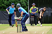 CB40 Cricket - Scottish Saltires V Warwickshire Bears at Grange CC - Edinburgh -  Bears and England bowler delivers the ball past Umpire Jeremy Lloyds and his formwer Warcs team-mate Saltire Calum MacLeod - facing batsman is George Worker - Picture by Donald MacLeod - 18.07.11 - 07702 319 738 - www.donald-macleod.com