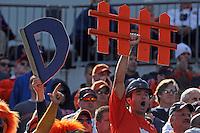Oct 30, 2010; Charlottesville, VA, USA;   Virginia Cavaliers fans cheer during the 24-19 win over the Miami Hurricanes 24-19 at Scott Stadium.  Mandatory Credit: Andrew Shurtleff