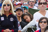 San Francisco, CA - Thursday, June 26, 2014:  USA soccer fans Bella Marinos (center in chair) watches the USA vs. Germany first round World Cup match with her daughter Elizabeth at a public viewing at the Civic Center in San Francisco, CA