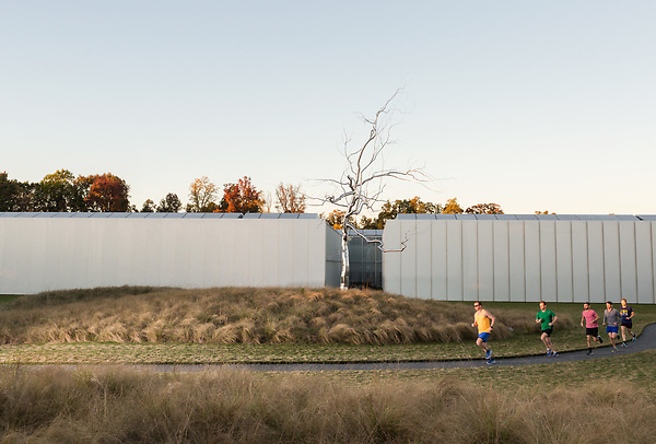November 11, 2015. Raleigh, NC.<br /> Pat Price (yellow shirt), Keith Ferguson (grey shirt), Rob Aldina (red shirt) Anthony Greco (green shirt) and David Meeker (blue shirt) run past the North Carolina Museum of Art's West Building, which houses their permanent collection.