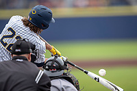 Michigan Wolverines outfielder Jordan Brewer (22) swings the bat against the Rutgers Scarlet Knights on April 27, 2019 in the NCAA baseball game at Ray Fisher Stadium in Ann Arbor, Michigan. Michigan defeated Rutgers 10-1. (Andrew Woolley/Four Seam Images)