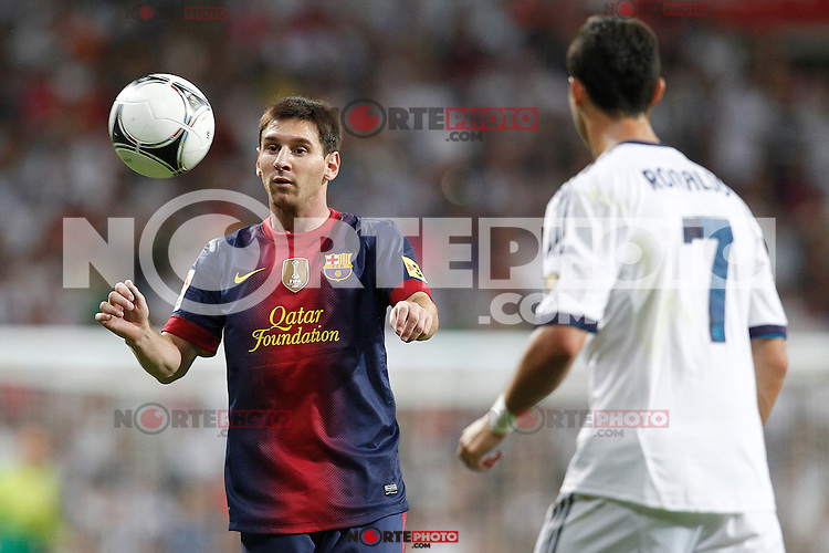 Real Madrid's Cristiano Ronaldo and F.C. Barcelona's Lionel Messi during Spanish Supercup 2nd match on august 29 2012...Photo: Cesar Cebolla / ALFAQUI /NortePhoto.com<br /> <br /> **CREDITO*OBLIGATORIO** <br /> *No*Venta*A*Terceros*<br /> *No*Sale*So*third*<br /> *** No*Se*Permite*Hacer*Archivo**<br /> *No*Sale*So*third*