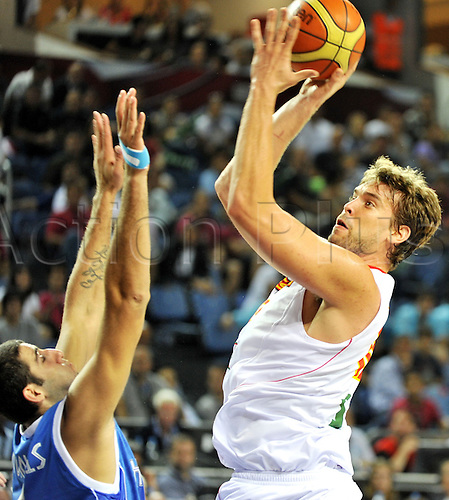 Sep 04, 2010; Istanbul, TURKEY; Defending champions Spain broke open a close game in the fourth quarter and continued their mastery over Greece by winning their Eight-Final showdown at the FIBA World Championship on Saturday. Marc Gasol (R) of Spain.