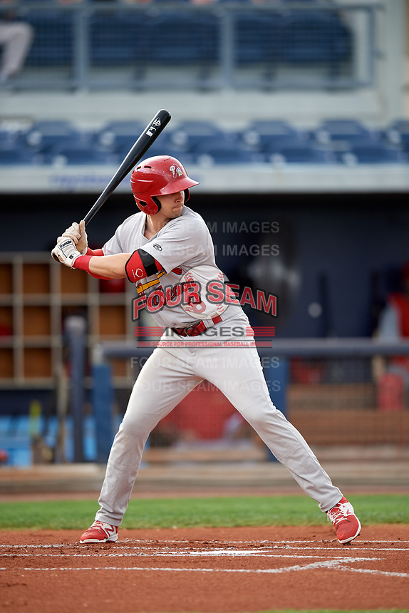 Palm Beach Cardinals right fielder Thomas Spitz (8) at bat during a game against the Charlotte Stone Crabs on April 11, 2017 at Charlotte Sports Park in Port Charlotte, Florida.  Palm Beach defeated Charlotte 12-6.  (Mike Janes/Four Seam Images)