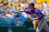 TCU pitcher Trent Appleby in Game 13 of the NCAA Division One Men's College World Series on June 26th, 2010 at Johnny Rosenblatt Stadium in Omaha, Nebraska.  (Photo by Andrew Woolley / Four Seam Images)