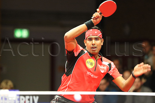 30.10.2015. Arag Centrecourt, Dusseldorf, Germany. Champions League Table Tennis. Group stage. Group D. Game 3. Borussia Dusseldorf versus Sten HB Ostrov. Kamal Achanta forehand in incredibly hard fought rally in game 3 of the night.