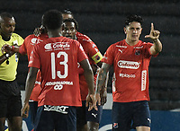 BOGOTA - COLOMBIA, 04-08-2018: German Cano (Der) jugador de Deportivo Independiente Medellín celebra después de anotar un gol a Millonarios partido por la fecha 3 de la Liga Águila II 2018 jugado en el estadio Nemesio Camacho El Campin de la ciudad de Bogotá. / German Cano (R) player of Deportivo Independiente Medellin celebrates after scoring a goal to Millonarios during the match for the date 3 of the Liga Aguila II 2018 played at the Nemesio Camacho El Campin Stadium in Bogota city. Photo: VizzorImage / Gabriel Aponte / Staff.