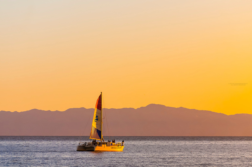 Sailboat (with Channel Islands behind), Santa Barbara, California USA.