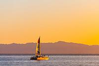 Sailboat (with Channel Islands behind), Santa Barbara, California USA.