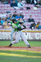 Eugene Emeralds first baseman Grant Fennell (21) swings at a pitch during a Northwest League game against the Salem-Keizer Volcanoes at Volcanoes Stadium on August 31, 2018 in Keizer, Oregon. The Eugene Emeralds defeated the Salem-Keizer Volcanoes by a score of 7-3. (Zachary Lucy/Four Seam Images)