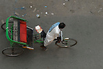 Cycle rickshaw in the Paharganj district of New Delhi, India.
