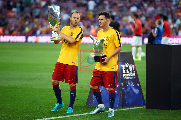 League BBVA 2015/2016. Game: 2.<br /> FC Barcelona vs Malaga CF: 1-0.<br /> Andres Iniesta &amp;  Lionel Messi.