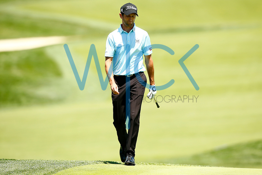 Gregory Bourdy walks to the green following his fourth shot on the 18th green during the 2016 U.S. Open in Oakmont, Pennsylvania on June 18, 2016. (Photo by Jared Wickerham / DKPS)