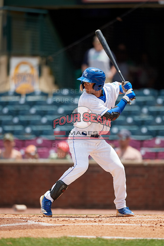 Lexington Legends catcher MJ Melendez (7) at bat during a game against the Rome Braves on May 23, 2018 at Whitaker Bank Ballpark in Lexington, Kentucky.  Rome defeated Lexington 4-1.  (Mike Janes/Four Seam Images)