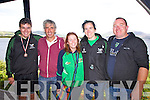 Cromane supporters at the Waterville Regatta on Sunday were l-r; John O'Sullivan, Paul O'Sullivan, Emily Ahern, Johanne King & Pa O'Sullivan.