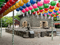 Pagode, buddhistischer Bunhwang Tempel , Schmuck zu Buddha's Geburtstag, Gyeongju, Provinz Gyeongsangbuk-do, S&uuml;dkorea, Asien, UNESCO-Weltkulturerbe<br /> pagoda in buddhist temple Bunhwang, Gyeongju,  province Gyeongsangbuk-do, South Korea, Asia, UNESCO world-heritage