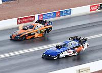Oct 29, 2016; Las Vegas, NV, USA; NHRA funny car driver Gary Densham (near) alongside Anthony Begley during qualifying for the Toyota Nationals at The Strip at Las Vegas Motor Speedway. Mandatory Credit: Mark J. Rebilas-USA TODAY Sports