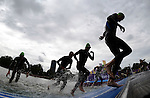 LONDON, ENGLAND - AUGUST 7:   A general view of the water exit during the Men's Triathlon Final, Day 12 of the London 2012 Olympic Games on August 7, 2012 at Hyde Park in London, England. (Photo by Donald Miralle)