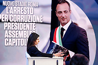 Virginia Raggi mayor of Rome and on the screen Marcello De Vito<br /> Rome March 20th 2019. The mayor of Rome appears as a guest on the tv show Porta a Porta.<br /> Foto Samantha Zucchi Insidefoto