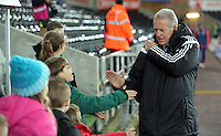 Swansea manager Alan Curtis arrives before the Barclays Premier League match between Swansea City and Watford at the Liberty Stadium, Swansea on January 18 2016
