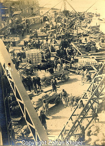 Jaffa Port showing loading and unloading during early 1930s during the British Mandate