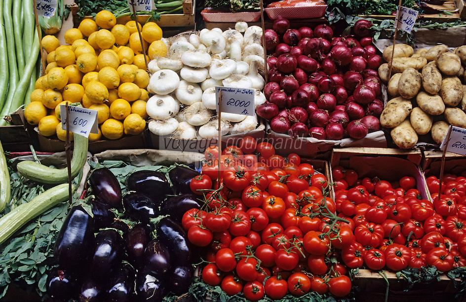 Europe/Italie/Sicile/Palerme : Fruits et légumes sur le marché