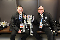 Pictured: Chris Barney (L) and Mark Williams (R). Sunday 24 February 2013<br /> Re: Capital One Cup football final, Swansea v Bradford at the Wembley Stadium in London.