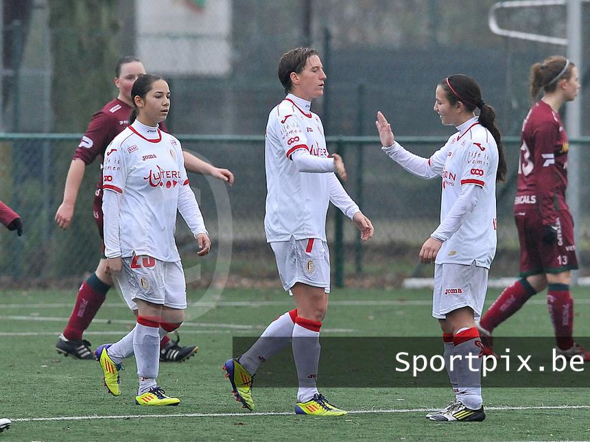SV Zulte-Waregem - Standard Femina de Liege : vreugde bij standard en Aline Zeler na de 4-0.foto DAVID CATRY / Vrouwenteam.be