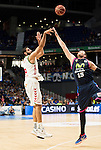 Laboral Kutxa's Ioannis Bourousis (I) andMovistar Estudiantes's Vladimir Stimac during Liga Endesa ACB at Barclays Center in Madrid, October 11, 2015.<br /> (ALTERPHOTOS/BorjaB.Hojas)