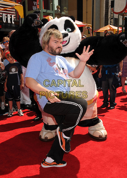 """JACK BLACK.""""Kung Fu Panda"""" Los Angeles Premiere at Grauman's Chinese Theatre, Hollywood, California, USA..June 1st, 2008.full length blue beard facial hair t-shirt dress-up costume hands posing legs tracksuit bottoms funny.CAP/ADM/BP.©Byron Purvis/AdMedia/Capital Pictures."""
