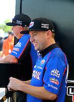 Apr 25, 2015; Baytown, TX, USA; NHRA top fuel driver Richie Crampton during qualifying for the Spring Nationals at Royal Purple Raceway. Mandatory Credit: Mark J. Rebilas-