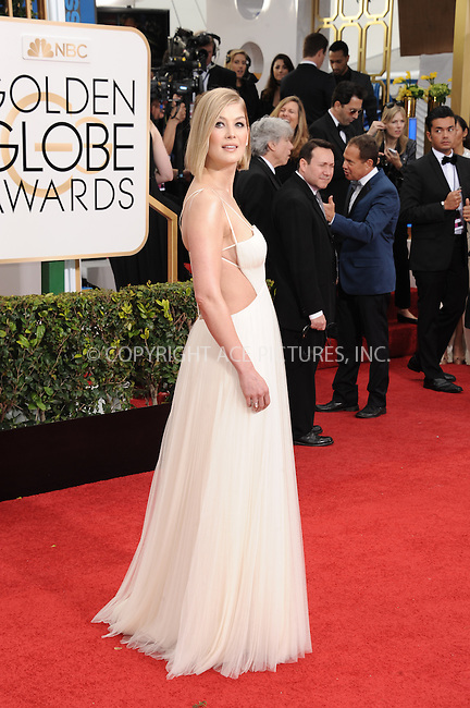 WWW.ACEPIXS.COM<br /> <br /> January 11 2015, LA<br /> <br /> Rosamund Pike arriving at the 72nd Annual Golden Globe Awards at The Beverly Hilton Hotel on January 11, 2015 in Beverly Hills, California.<br /> <br /> <br /> By Line: Peter West/ACE Pictures<br /> <br /> <br /> ACE Pictures, Inc.<br /> tel: 646 769 0430<br /> Email: info@acepixs.com<br /> www.acepixs.com